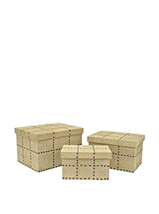 Three Hands Set of 3 Wood Burlap Studded Boxes