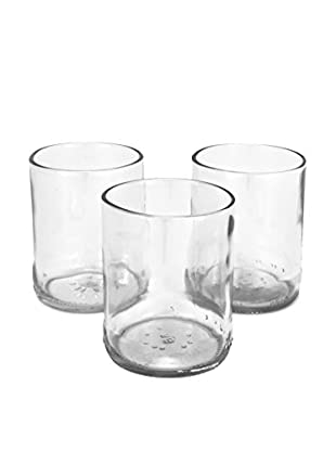 bambeco Pack of 3 Recycled Glass Votives, Clear