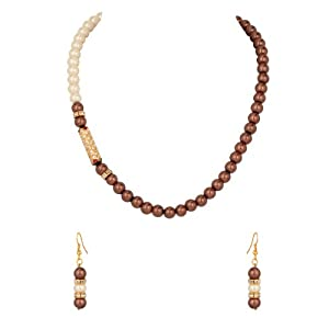 Pearl Necklace Set with Bright Brown; White Beads; Cz; Gold Plating