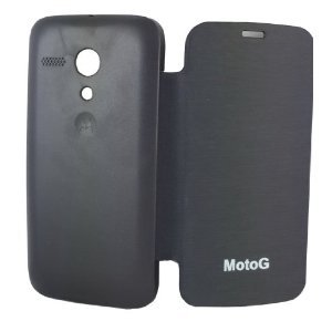 Dhasmesh Mobile Accessories Matte Flip Case Cover For Motorola Moto G (Black) With Screen Guard