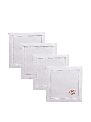 Henry Handwork Set of 4 Natural Seashell Embroidered Cocktail Napkins, White