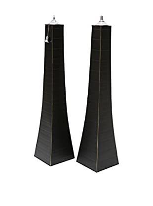 Outdoor Interiors Set of 2 Large Pyramid Oil Torches, Matte Black