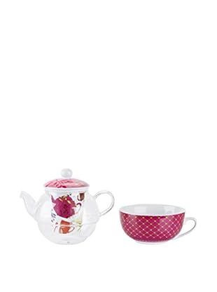 Tognana  Teekanne 2 tlg. Set Elisir weiß/pink