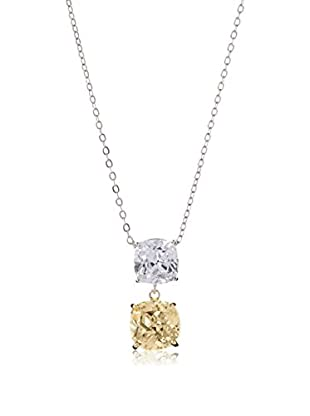CZ by Kenneth Jay Lane Champagne Double Cushion CZ Necklace