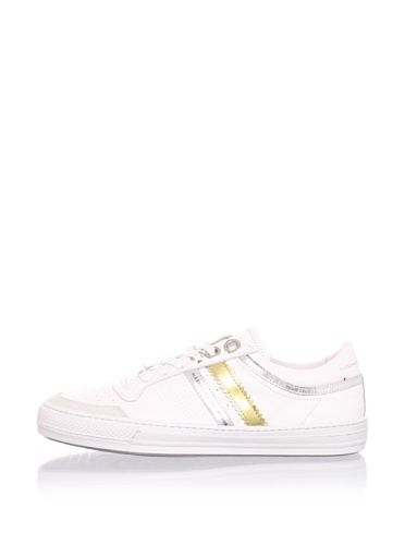 Alessandro Dell'Acqua Men's Roland Double Stripe Sneaker (White/Gold/Silver)