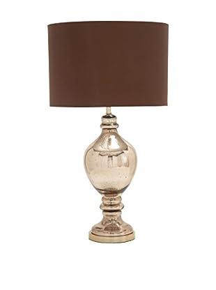 Mercury Glass & Metal Table Lamp, Brown