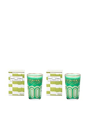 Market Street Candles Set of 2 Fresh Cut Grass Scented Moroccan Trellis Candles, Green