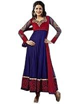 Dani Fashions Women's Tomato Red Faux Georgette Designer Anarkali Suit