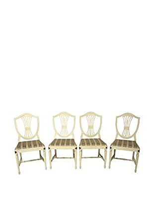Set of 4 Shield Back Dining Chairs, White