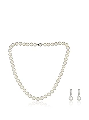 Bentelli Conjunto de collar y pendientes 9K Gold 0.09Ct Diamond Pearls Blanco
