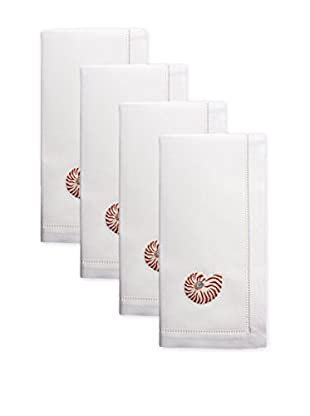 Henry Handwork Set of 4 Natural Nautilus Seashell Embroidered Napkins, White