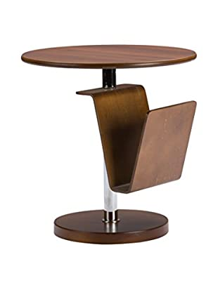 Baxton Studio Piante Accent Table with Magazine Holder, Brown Walnut