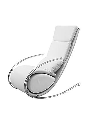 Whiteline Chloe Faux Leather Rocker Chair & Ottoman, White