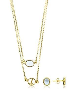 Silver One Set Kette, Anhänger und Ohrringe  vergoldetes Silber 925