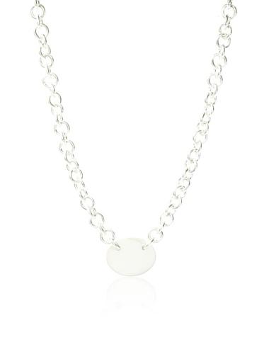 Argento Vivo Oval Engrave Disk Necklace, Silver