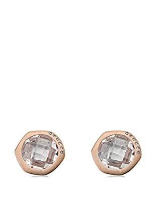 Riccova City Lights Round Faceted Glass Earrings with CZs, Rose Gold