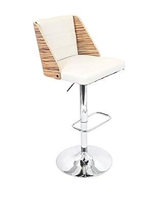 Lumisource Galanti Bar Stool, Zebra/Cream
