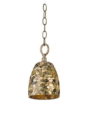 Varaluz Naturals 1-Light Mini Pendant, Terra Silver/Black Mother Of Pearl