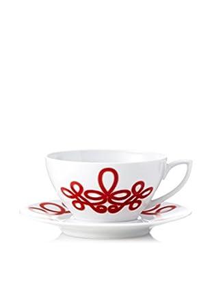 Haviland Brandebourg Cappuccino Cup & Saucer, Rouge