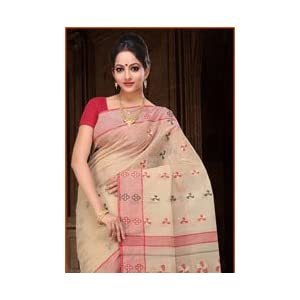 Beige Bengal Handloom Cotton Tant Saree With Blouse