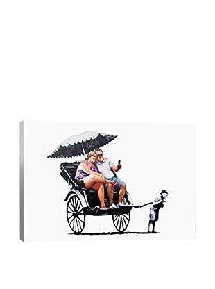 Banksy Rickshaw Kid Gallery Wrapped Canvas Print