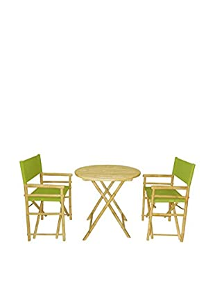 ZEW, Inc. Round Table & Director Chair Set, Green