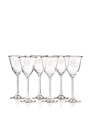 A Casa K Ricci Set of 6 Engraved Crystal & Platinum 6.5-Oz. Tulip Wine Goblets