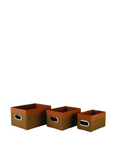 Wald Imports Set of 3 Woven-Paper Storage Baskets (Brown)