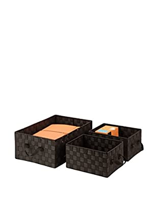 Honey-Can-Do Set of 3 Woven Baskets, Espresso