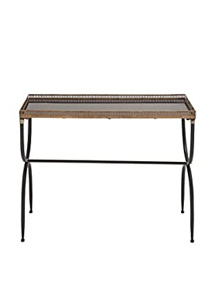 Vintage-Inspired Industrial Metal Console Table, Black