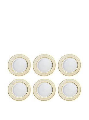 10 Strawberry Street Set of 6 Iriana Dinner Plates (White/Gold)