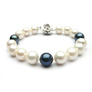 Trendy Souk --- Coruscant Single Strands White and Black South Sea Shell Pearls Bracelet (8-10 mm)