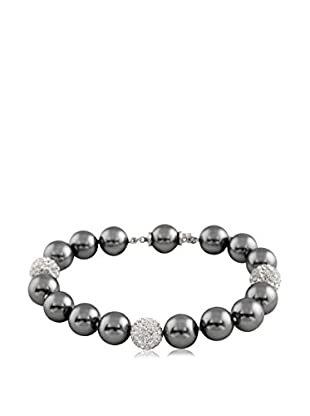 Majestik 10mm Grey Pearl & CZ Bead Bracelet