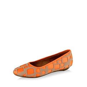 Trishuli Laser Cut Ballerinas - Orange & Beige