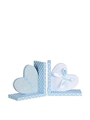 Set Sujetalibros 2 Uds. Heart Azul