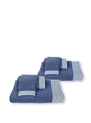 Terrisol 6-Piece Bath Set, Navy/White