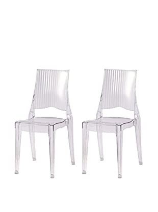 Manhattan Living Set of 2 Tolta Dining Side Chairs, Clear