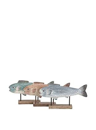 Set of 3 Fish Statues on Stand