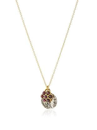 Linda Levinson Garnet Flower & Coin Pendant Necklace