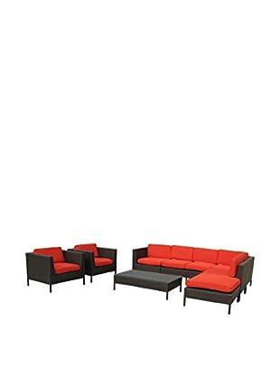 Modway La Jolla 9-Piece Outdoor Patio Sectional Set (Espresso/Red)