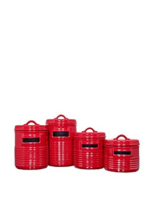 Set of 4 Chalkboard Canisters (Red)