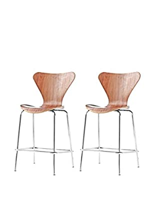 Manhattan Living Set of 2 Jays Counter Stool Chairs, Walnut