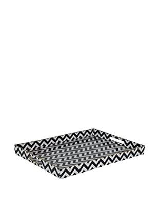 Three Hands Melamine Tray, Black/White