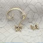 Fayon Trendy Costume Golden Butterfly Earcuff with Earring - 74062