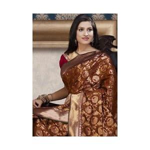 Rust Banarasi Silk Saree with Blouse