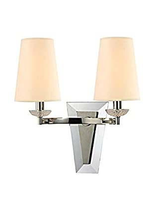 Hudson Valley Lighting Nelson 2-Light Wall Sconce, Polished Nickel/Cream