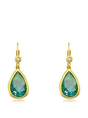 Riccova Arctic Mist 14K Gold Plated Aqua Oval Tear Drop Leverback Earrings