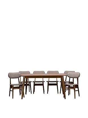 Baxton Studio Sacramento Mid-Century 7-Piece Dining Set, Brown/Grey