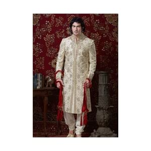 Designer Wedding Wear Cream Colored Readymade Brocade Sherwani
