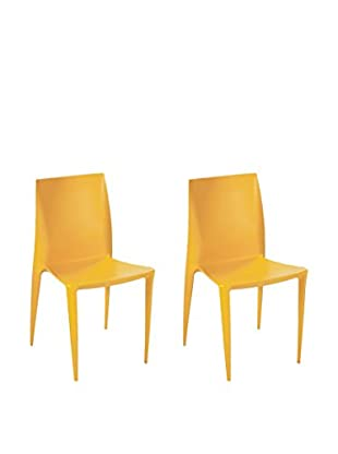 Manhattan Living Set of 2 Square Dining Chairs, Yellow